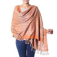 Silk shawl, 'Bihar Ginger' - India Artisan Crafted Women's Handwoven Silk Striped Shawl