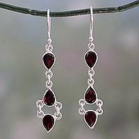 Garnet dangle earrings, 'Mystic Wonder' - Indian Fair Trade Garnet and Sterling Silver Earrings