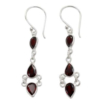 Indian Fair Trade Garnet and Sterling Silver Earrings