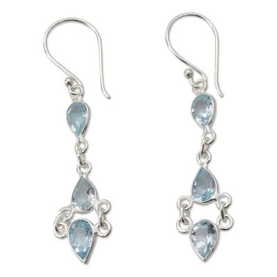 Indian Fair Trade Sterling Silver Blue Topaz Earrings