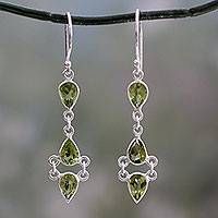 Peridot dangle earrings, 'Mystic Wonder' - Peridot and Sterling Silver Earrings Handcrafted in India