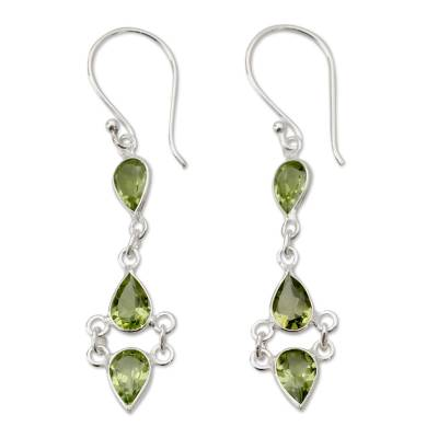 Peridot Sterling Silver Earrings Handcrafted in India