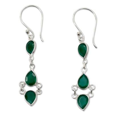 Sterling Silver Handcrafted Earrings with Faceted Green Onyx
