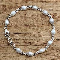 Cultured pearl tennis bracelet, 'Romantic Aura' - Cultured Pearl Handcrafted Tennis Bracelet Sterling Silver