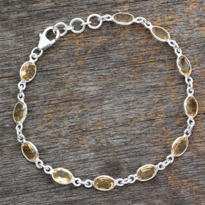 Citrine tennis bracelet, 'Romantic Yellow' - India Handcrafted Sterling Silver Citrine Tennis Bracelet