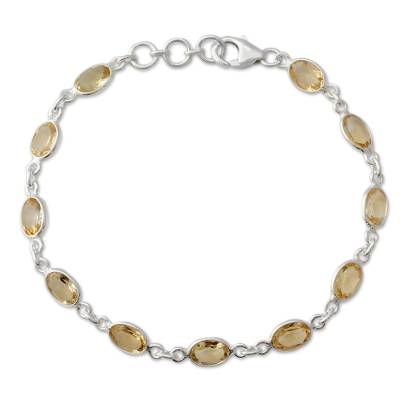India Handcrafted Sterling Silver Citrine Tennis Bracelet