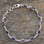 Handcrafted Indian Amethyst Sterling Silver Tennis Bracelet, 'Romantic Violet'