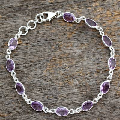 Amethyst tennis bracelet, 'Romantic Violet' - Handcrafted Indian Amethyst Sterling Silver Tennis Bracelet