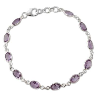 Handcrafted Indian Amethyst Sterling Silver Tennis Bracelet