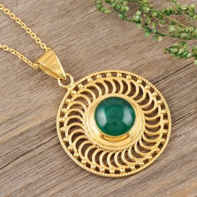 Gold vermeil onyx pendant necklace, 'Whirlwind' - 22k Gold Vermeil Pendant Necklace with Green Onyx
