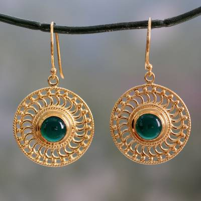 Gold vermeil onyx dangle earrings, 'Whirlwind' - 22k Gold Vermeil Hook Earrings Handcrafted with Green Onyx