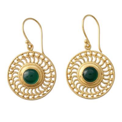 Gold vermeil onyx dangle earrings, 'Whirlwind' - 22k Gold Vermeil Hook Earrings Handcrafted with Green Onyx
