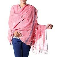 Khadi cotton shawl, 'Shy Red' - Khadi Cotton Hand Woven Shawl in Red Off-White and Blue