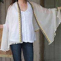 Cotton shawl, 'Journey to West Bengal' - Hand Woven Cotton Shawl Off White Wrap from India
