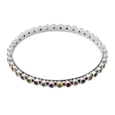 Amethyst Topaz Citrine and Garnet Silver Bangle Bracelet