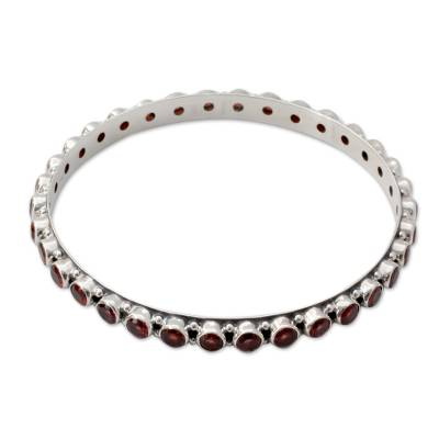 15-carat Garnet Fair Trade Silver Bangle Bracelet from India