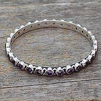 Amethyst bangle bracelet, 'Spiritual Energy' - 22-carat Amethyst Fair Trade Silver Bangle Bracelet