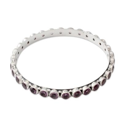 Amethyst bangle bracelet, 'Spiritual Energy' - 22-carat Amethyst Fair Trade Silver Bangle Bracelet