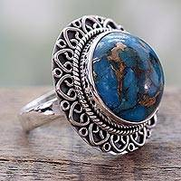 Sterling silver cocktail ring, 'Golden Blue Mirage' - Indian Sterling Silver Ring with Blue Composite Turquoise