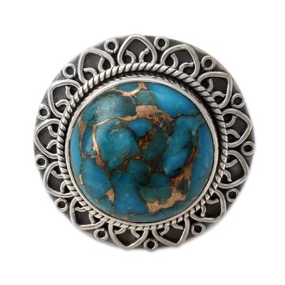 Indian Sterling Silver Ring with Blue Composite Turquoise