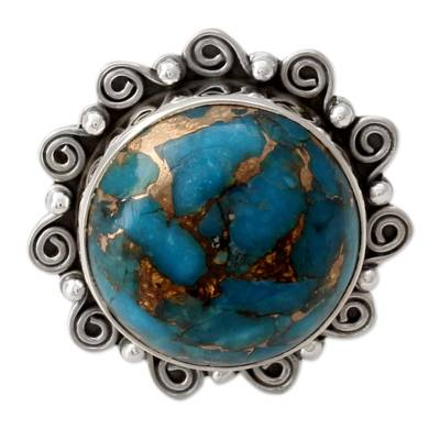 Indian Blue Composite Turquoise on Sterling Silver Ring