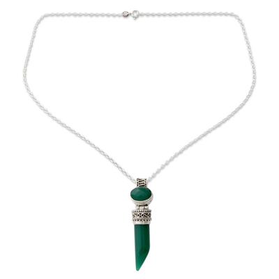 Onyx pendant necklace, 'Love Amulet' - Indian Handcrafted Green Onyx Pendant Necklace in Silver