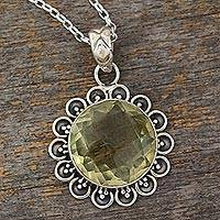 Quartz pendant necklace, 'Sunshine Glow' - Artisan Crafted 20-Carat Quartz and Silver Sun Necklace