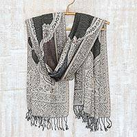 Jamawar wool shawl, 'Ivy and Paisley' - Brown and Olive Green Indian Jamawar Style Wool Shawl