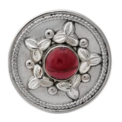 Artisan Crafted Sterling Silver Statement Ring with Garnet
