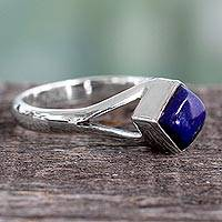 Lapis lazuli single stone ring, 'Regal Blue' - Artisan Crafted India Unisex Silver Ring with Lapis Lazuli