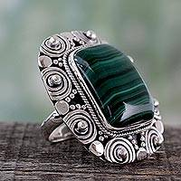 Malachite cocktail ring, 'Ancient Forest' - Indian Malachite Cocktail Ring in 925 Sterling Silver