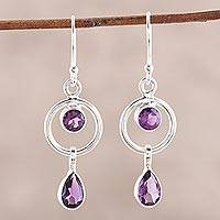 Amethyst dangle earrings, 'Modern Lilac' - Indian Contemporary Amethyst and Sterling Silver Earrings