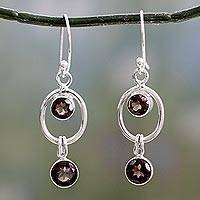 Smoky quartz dangle earrings, 'Modern Mist' - Sterling Silver and Smoky Quartz Earrings from India