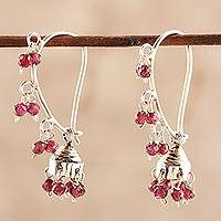 Garnet chandelier earrings, 'Music'