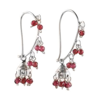 Garnet and Sterling Silver Handcrafted Jhumki Earrings