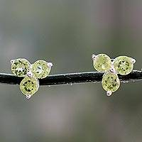 Peridot stud earrings, 'Chennai Stars' - Artisan Crafted Triple Peridot Stud Earrings from India