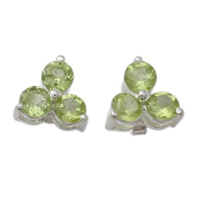 Artisan Crafted Triple Peridot Stud Earrings from India