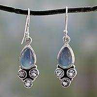 Chalcedony and blue topaz dangle earrings, 'Dream Meadow' - Fair Trade Chalcedony and Blue Topaz Silver Dangle Earrings