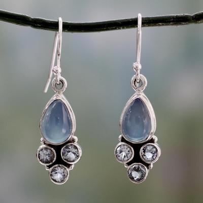 Chalcedony and blue topaz dangle earrings, 'Dream Meadow' - Fair Trade Chalcedony and Blue Topaz Silver Dangle Earrings