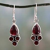Garnet dangle earrings, 'Scarlet Meadow' - Indian Sterling Silver and Garnet Dangle Hook Earrings