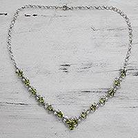 Peridot link necklace, 'Verdant Garden' - Peridot Link Necklace in Rhodium Plated Sterling Silver