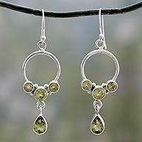 Peridot dangle earrings, 'Bright Horizon' - Natural Peridot and Sterling Silver Dangle Earrings
