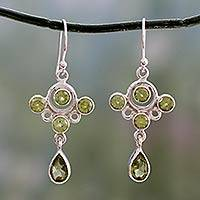 Peridot dangle earrings, 'Tart and Sweet' - Sterling Silver 925 and Peridot Dangle Style Earrings