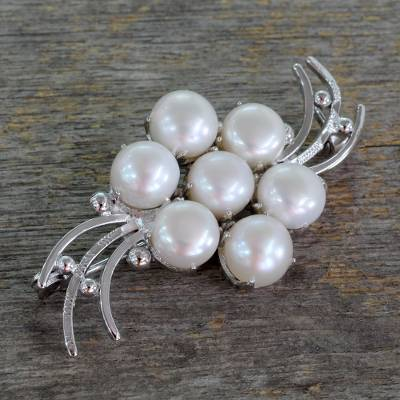 Cultured pearl brooch pin, 'Love in Bloom' - Rhodium Plated Sterling Silver and Cultured Pearl Brooch
