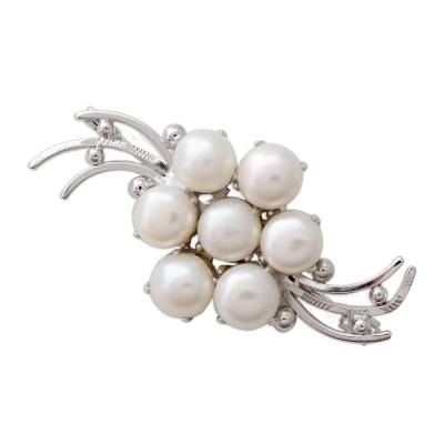 Rhodium Plated Sterling Silver and Cultured Pearl Brooch