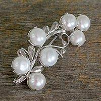 Cultured pearl brooch pin, 'Love Saga'