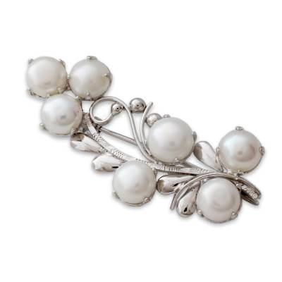 Cultured pearl brooch pin, 'Love Saga' - White Cultured Pearl and Sterling Silver Brooch Pin