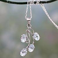 Blue topaz pendant necklace, 'Fidelity' - Polished Sterling Silver and Blue Topaz Pendant Necklace