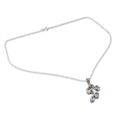 Polished Sterling Silver and Blue Topaz Pendant Necklace