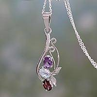 Amethyst, blue topaz and garnet pendant necklace, 'Trio of Joy' - Indian Multi Gemstone Pendant Necklace in Sterling Silver